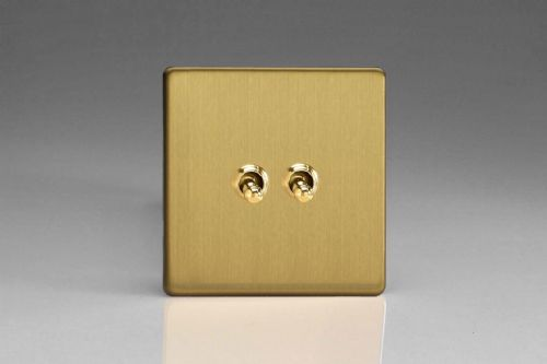 Varilight XEBT2S Euro Brushed Brass 2 Gang 10A 1 or 2 Way Toggle Light Switch